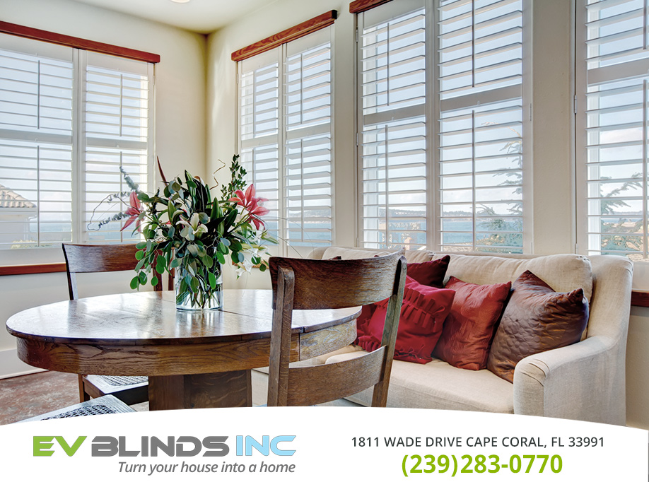 White Wooden Blinds in and near Marco Island Florida